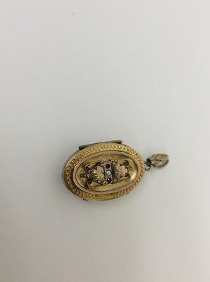 gold filled locket with pearl, red stones, victorian