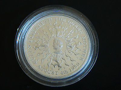 Queen Mother encapsulated silver proof 80th Birthday Crown dated 1980