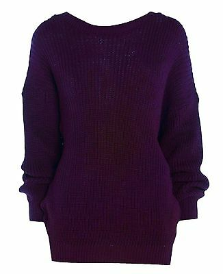 New Womens ladies chunky knitted purple jumper top size 14