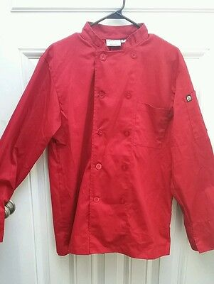 Chef Works New Black Culinary Chef Coat Jacket M Long Sleeve RED