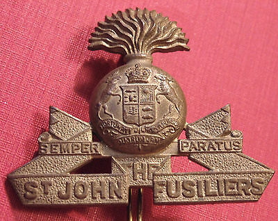 CANADA Canadian Armed Forces St. John Fusiliers metal Cap Badge QC SCULLY