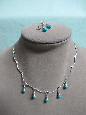 R O F Sterling and Turquoise bead Adustible Necklace and pierced Earrings