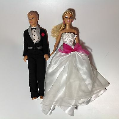 1998 Barbie Doll & 2007 Ken Doll with Wedding Outfits