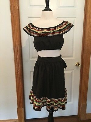 Vintage 1940s 1950s Outfit Crop Top Peasant Dancer Totsy Togs As Is