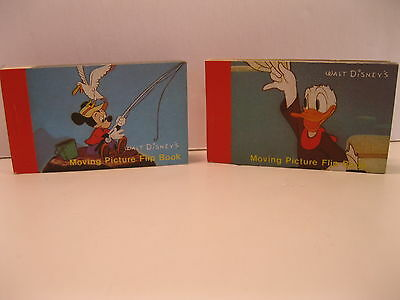 Disney Moving Picture Flip Book 1986 Set Of 2 Mint Mickey Donald Duck Pluto