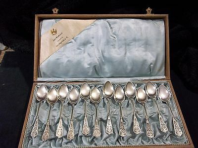 Antique European Sterling Silver coffee spoon set of 12 with case 1890's