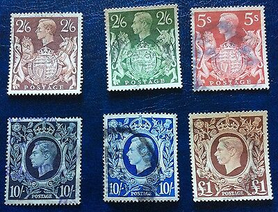 GB Set Of 6 High Value Stamps Of George VI 2/6-£1 Nice Used Cat £55 (Lot32)