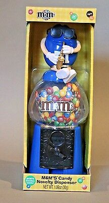 M&M Candy Blue Sax Novelty Dispenser Coin Bank Gumball Machine Style New in Box