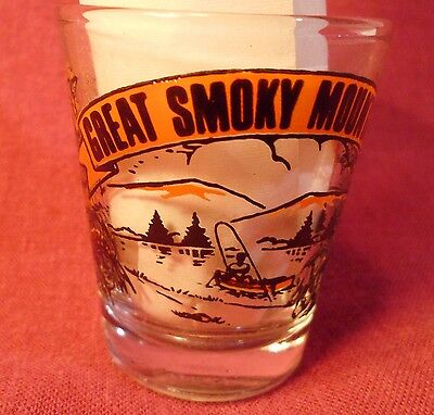 Vtg Great Smoky Mountains Shot Glass Bears Flowers Fishing Trees