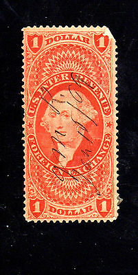 #R68c  $1.00  FOREIGN EXCHANGE     REVENUE STAMP     USED    B