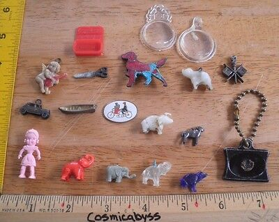 Cracker Jack vintage prize lot of elephants dog badge charms etc