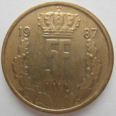 Luxembourg 5 Franc 1987