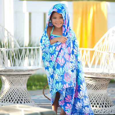 PERSONALIZED MONOGRAMMED HOODED BEACH BATH TOWEL BLUE CRABS or SEA TURTLE