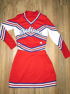 Authentic Cheerleader Uniform Outfit Indians Complete 3 Piece 34/25 Varsity WOW!