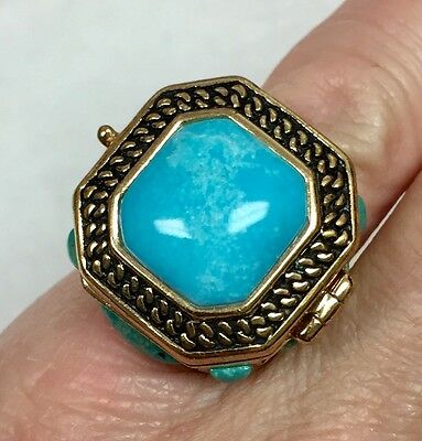 Barse Cocktail Poison Ring Goldtone Turquoise Size 8