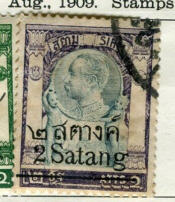 THAILAND;   1909 early SATANG surcharged issue used 2s. on 2a. value