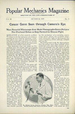 1925 Magazine Article Detecting the Cancer Germ Via Microscope Early Medicine