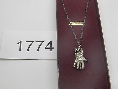 Vintage Jewelry Necklace  Silver Tone Clear Rhinestone New   1774