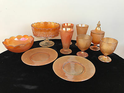 11-pc Iridescent Marigold Amber Carnival Glass with Crazy-like Weave Patterns