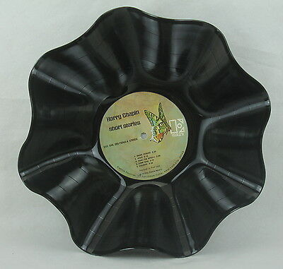 """HARRY CHAPIN Recycled Record Bowl """"Short Stories"""" (1973) Folk Music Gift"""