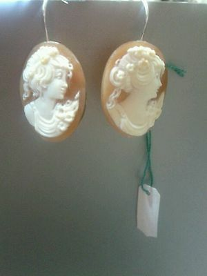 Cameo genuine cornelian shell earrings silver hand carved Italy