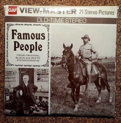 """""""Famous People"""":  View Master Complete 3 Reel Packet Very Sharp Packet!"""