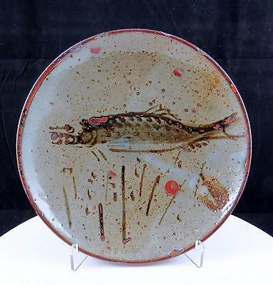 """Japanese Signed Art Pottery Fish Design Grey Speckled 7"""" Plate"""