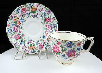 """Crown Staffordshire England Chintz Springtime Footed 2 1/2"""" Cup And Saucer Set"""