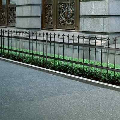S# Ornamental Security Palisade Fence Steel Black Pointed Top 120cm Garden Backy