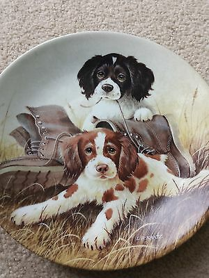 """PUP N BOOTS"" SPRINGER SPANIEL PUPPIES Collector Plate by Lynn Kaatz 1991 Plate"