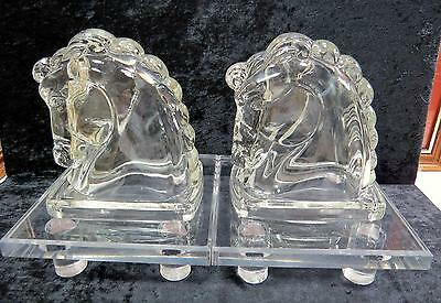 """Vintage Federal Glass Pressed Clear Hollow Horse Head 5 1/2"""" Bookends 1930's"""