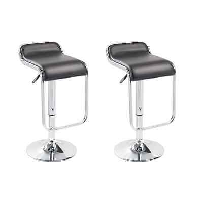 New 2x PU Leather Bar Stool Black Kitchen Dining Chair Gas Lift Steel Adjustable