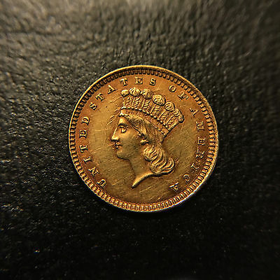 1861 P CLASHED DIES Liberty Indian Princess Head Gold G$1 AU About Uncirculated