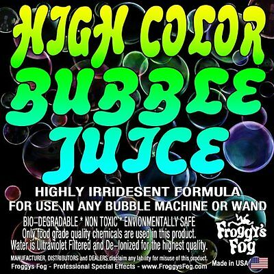 NEW Froggys Fog - HIGH COLOR Bubble Juice for All Machines & Bubblers - 1 Gallon