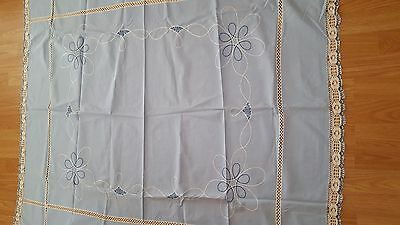 Antique Hand Embroidered/Crochet Linen Table Cloth-Blue/White-German-46 x 51
