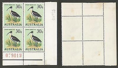 1966 30c STRAW-NECKED IBIS STAMP BLOCK of 4 with NUMBERED TAB AUSTRALIA MUH
