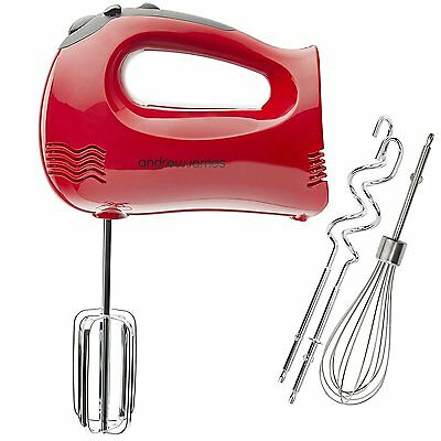 Andrew James Powerful 300 Watt Red Hand Mixer With Chrome Beaters, Dough...
