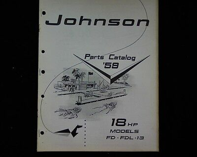 1959 Johnson 18 hp. FD FDL 13 outboard  spare parts manual, book