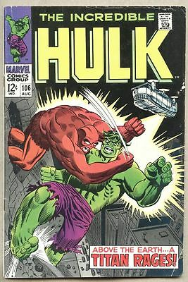 Incredible Hulk #106-1968 fn- Missing Link Herb Trimpe