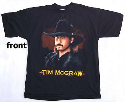 Tim Mcgraw! Young Early Face Pic 1994 Blk Shirt L New