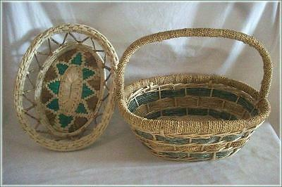 2 Woven Baskets / One with Handle Green & Tan/Beige