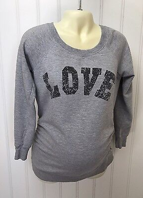 "Feathers Maternity Gray S Sweatshirt Side Rouched "" LOVE """