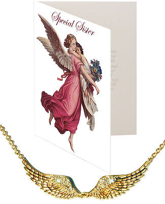 Special Sister Card & Angel Wing Pendant Nickel Silver Crystal Gold plt Protect