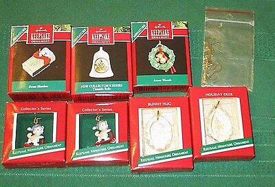 Lot Of 7 Hall Mark Miniature Christmas Ornaments Plus Some Mini Hangers