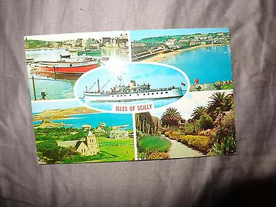 Postcard.    Isles of Scilly. Scillonian   Multiview Postcard 1973 R/L