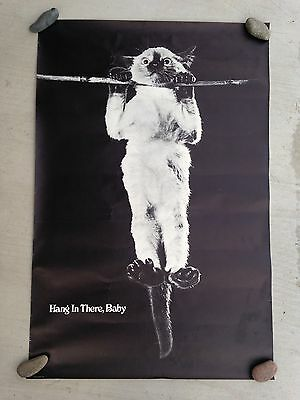 Original Vintage Hang In There Baby Poster Cat 70s First Edition