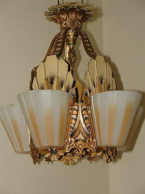 Art Deco, Slip Shade, Chandelier. Beardslee/Williamnson.