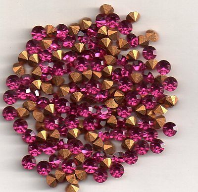 50 Strass Rond Pp31 - 3.8  Mm - Fushia Goldfoiled
