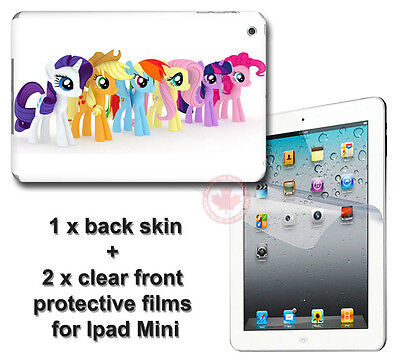 My Little Pony Cute SKIN STICKER COVER and 2 protected films for Apple iPad Mini