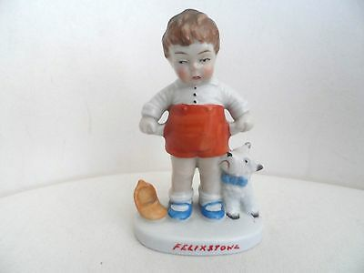 Antique China Ornament - Boy With Dog